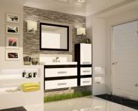 Комплект мебели подвесной Сакура 800 (тумба, умывальник «Олимпия», колонна, зеркало)