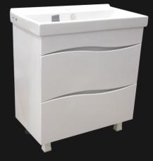 Комплект мебели «Смайл» 800 2 Ящика (тумба,умывальник Фостер 800,шкаф зеркальный,колонна с корзиной для белья)