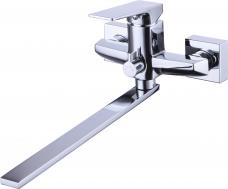 Смарт-Лофт смеситель для ванны и душа, плоский излив 250мм, керам.переключатель, с аксессуарами, хром