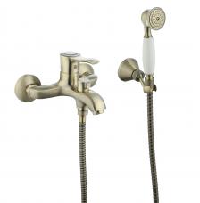 Смарт-Винтаж смеситель для ванны и душа,  керам.переключатель, с аксессуарами, бронза