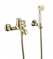 Смарт-Винтаж смеситель для ванны и душа,  керам.переключатель, с аксессуарами, золото