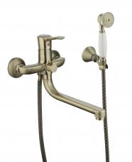 Смарт-Винтаж смеситель для ванны и душа,  излив 250мм, керам.переключатель, с аксессуарами, бронза
